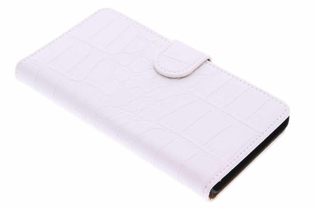 Witte krokodil booktype hoes voor de Huawei G Play Mini