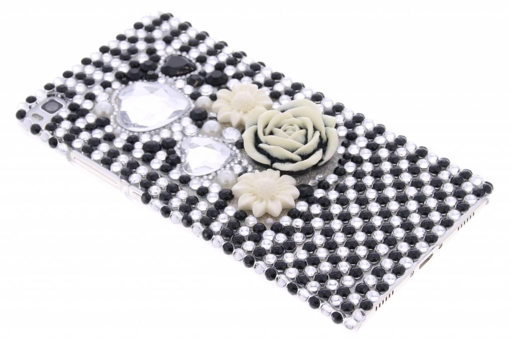 Zwart/wit bloemen design BlingBling hardcase hoesje voor de Huawei P8