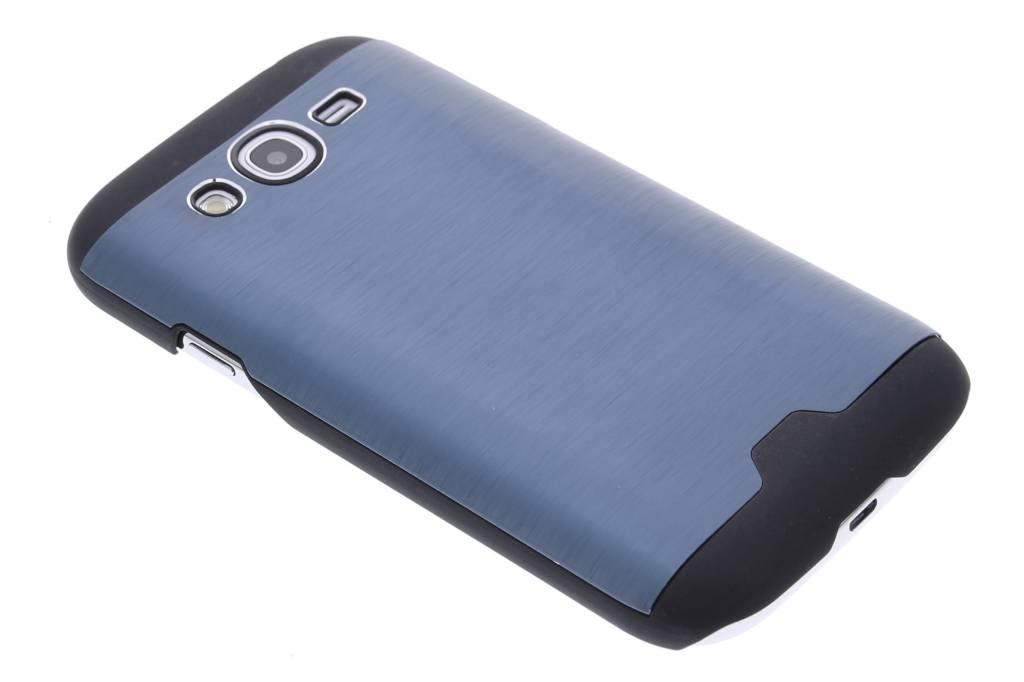 Donkerblauw brushed aluminium hardcase hoesje voor de Samsung Galaxy Grand (Neo)
