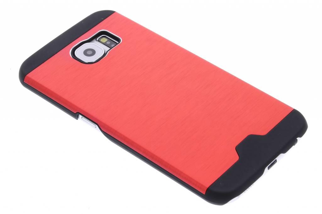 Rood brushed aluminium hardcase hoesje voor de Samsung Galaxy S6