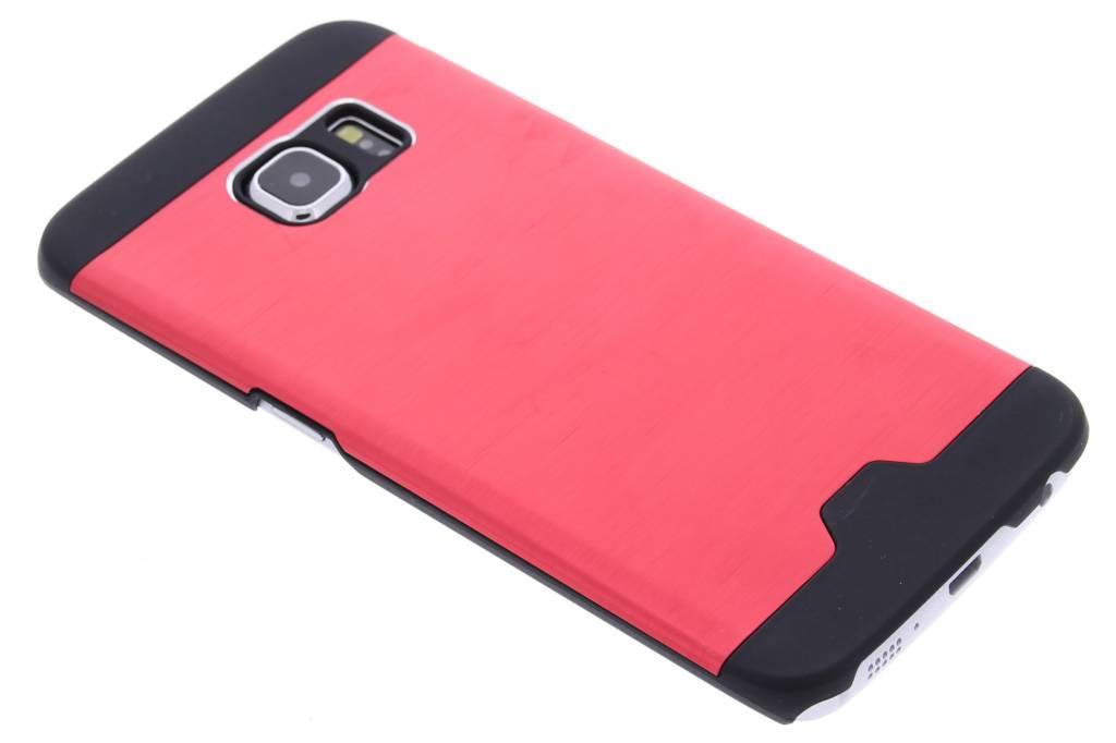 Rood brushed aluminium hardcase hoesje voor de Samsung Galaxy S6 Edge