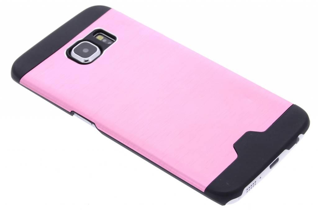Roze brushed aluminium hardcase hoesje voor de Samsung Galaxy S6 Edge