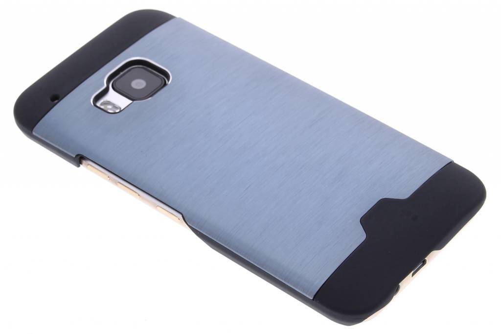 Donkerblauw brushed aluminium hardcase hoesje voor de HTC One M9