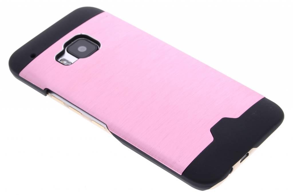 Roze brushed aluminium hardcase hoesje voor de HTC One M9