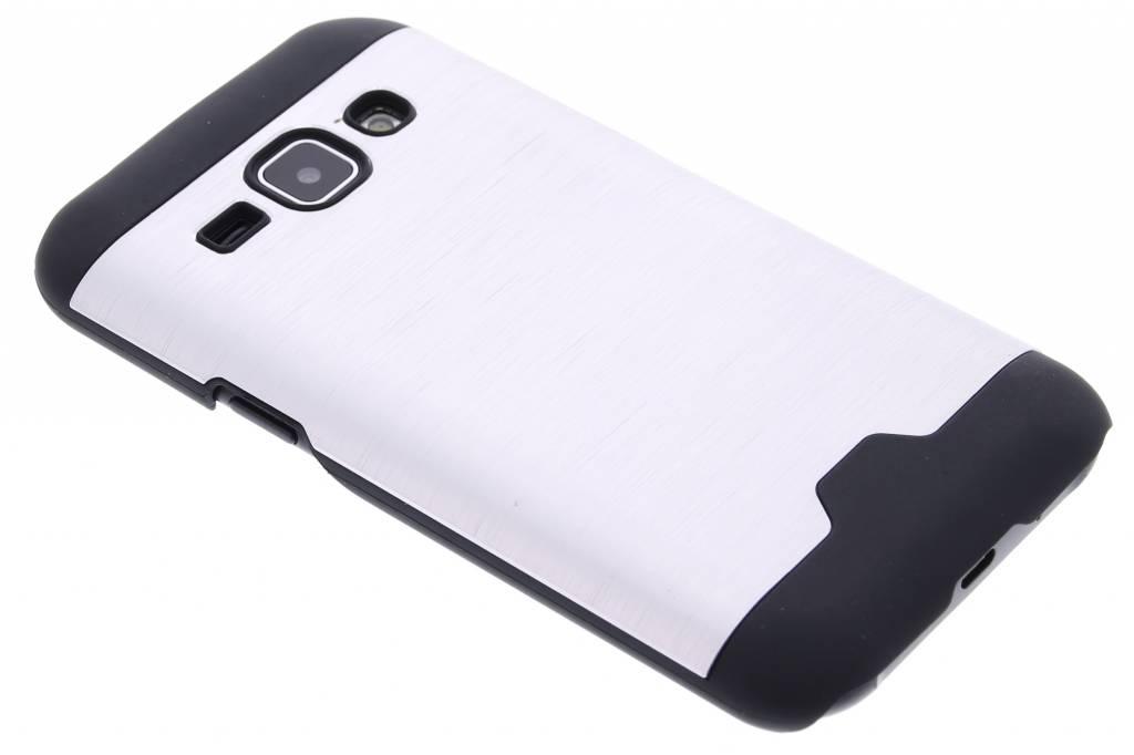 Zilver brushed aluminium hardcase hoesje voor de Samsung Galaxy J1