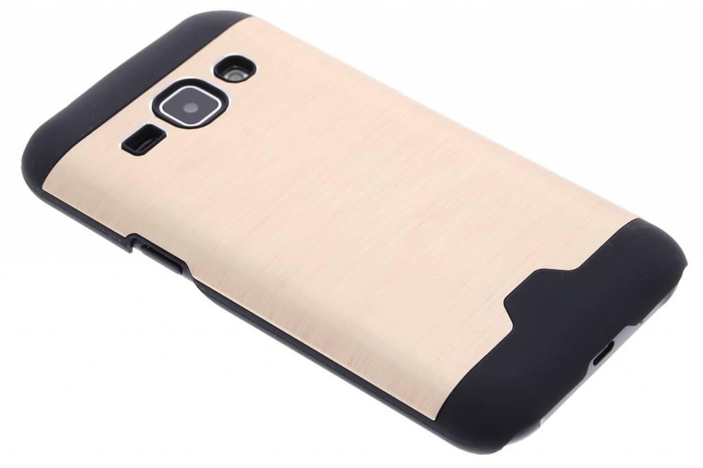 Goud brushed aluminium hardcase hoesje voor de Samsung Galaxy J1