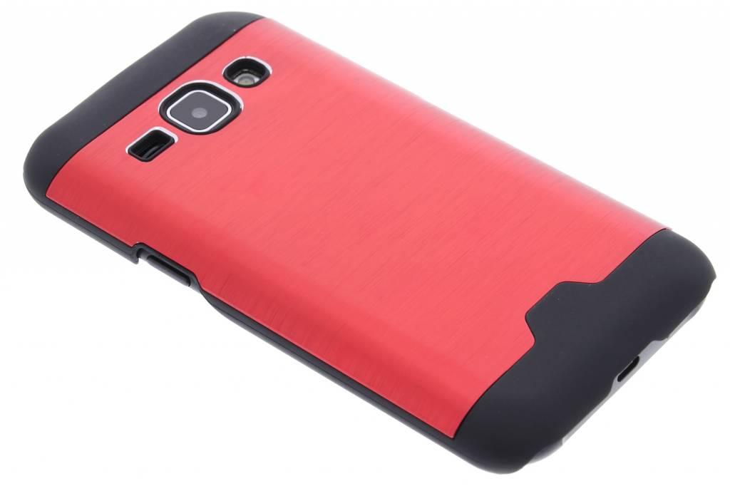 Rood brushed aluminium hardcase hoesje voor de Samsung Galaxy J1