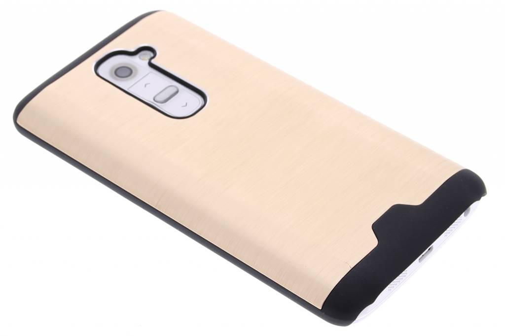 Goud brushed aluminium hardcase hoesje voor de LG G2
