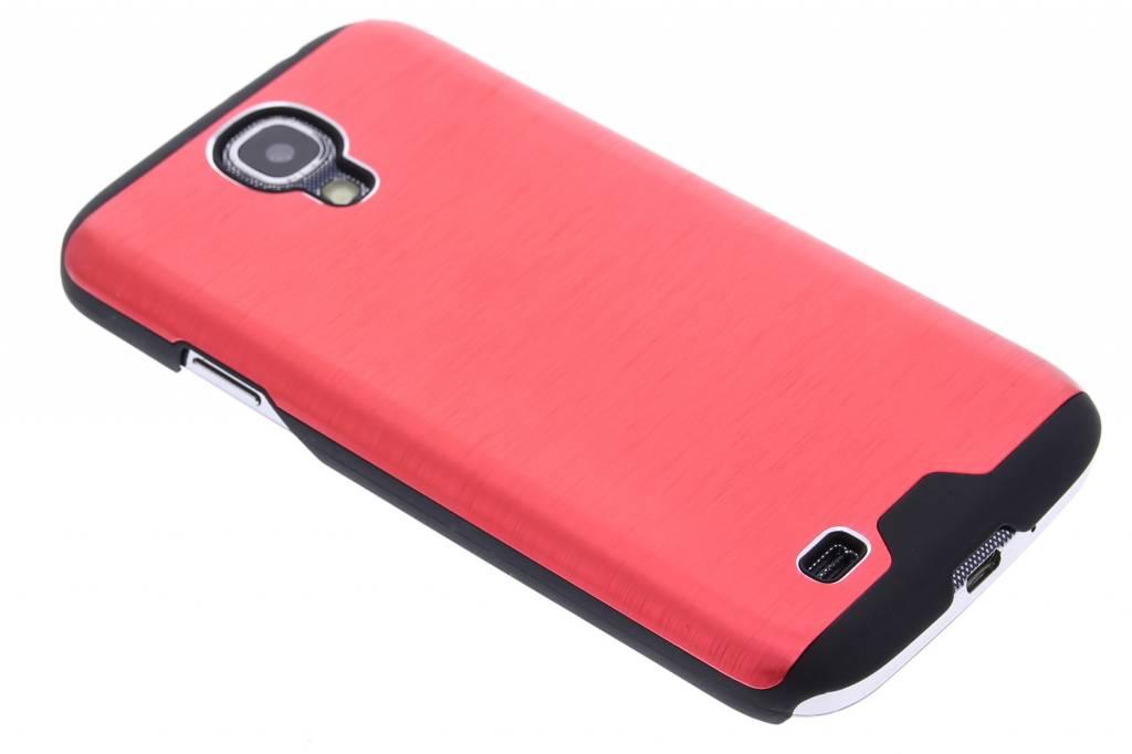 Rood brushed aluminium hardcase hoesje voor de Samsung Galaxy S4