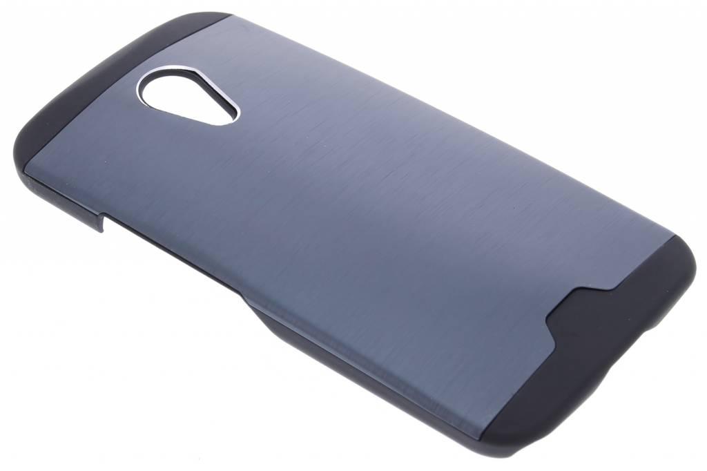 Donkerblauw brushed aluminium hardcase hoesje voor de Motorola Moto G 2nd Gen 2014