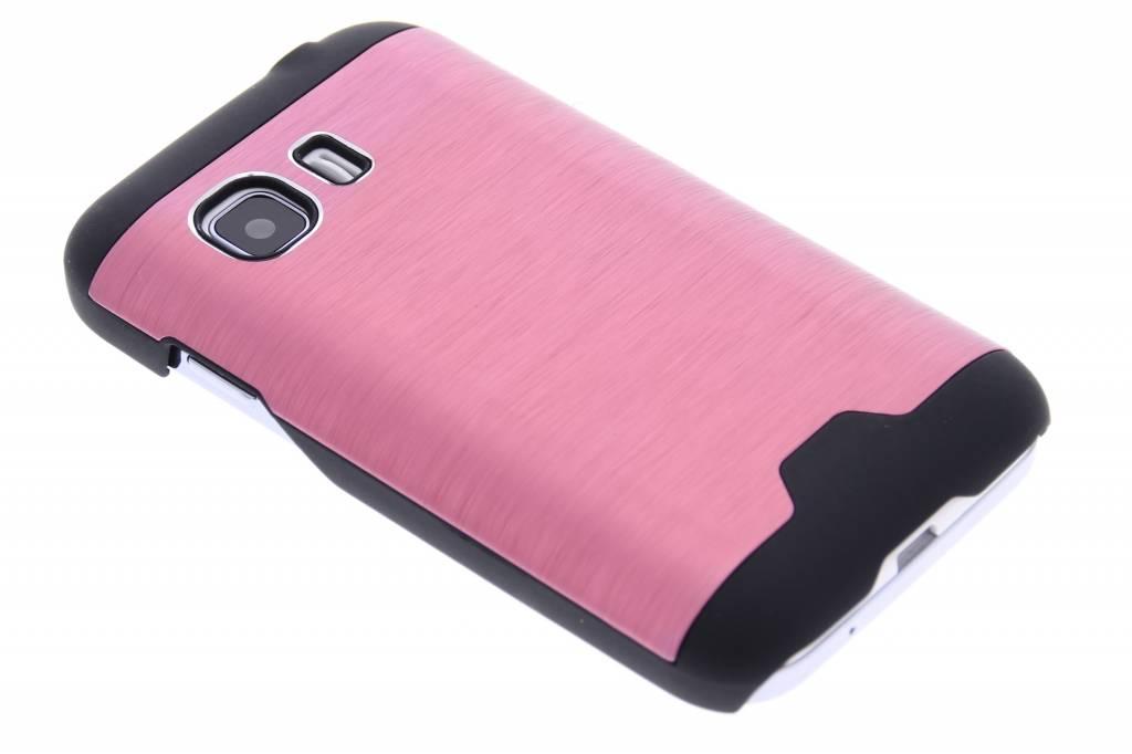 Roze brushed aluminium hardcase hoesje voor de Samsung Galaxy Young 2