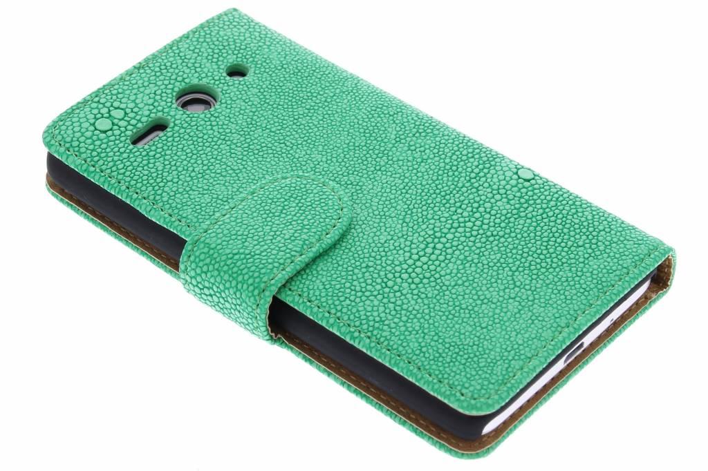 Groene glanzend ribbelige booktype hoes voor de Huawei Ascend Y530
