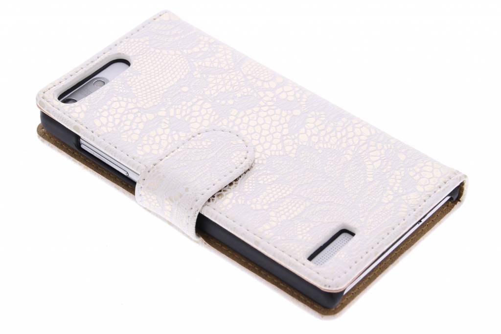 Witte glamour design booktype hoes voor de Huawei Ascend G6