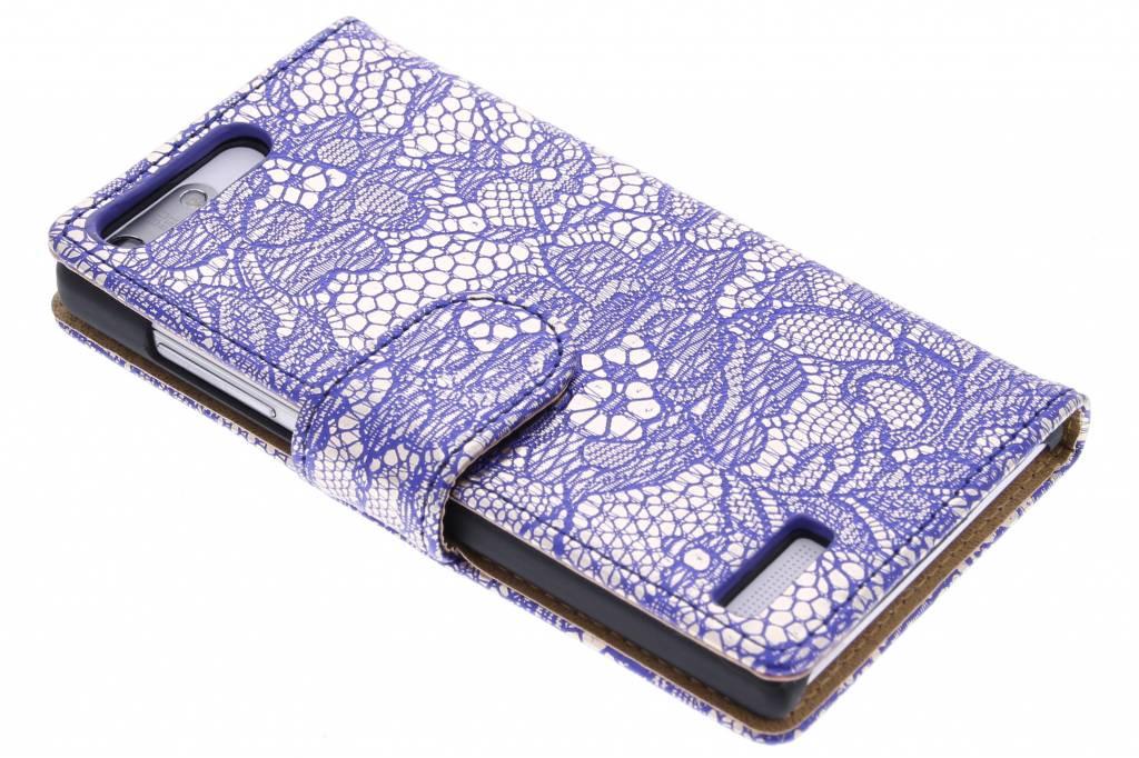 Blauwe glamour design booktype hoes voor de Huawei Ascend G6