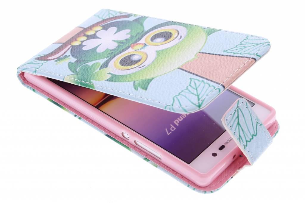 Uil design TPU flipcase voor de Huawei Ascend P7