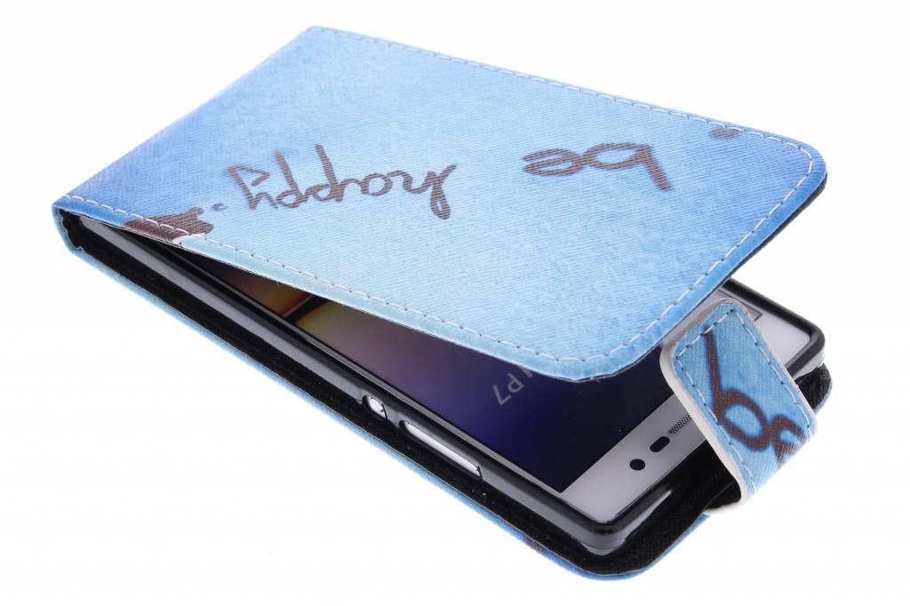 Be happy design TPU flipcase voor de Huawei Ascend P7