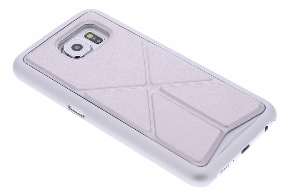 Zilver hardcase hoesje met standaard voor de Samsung Galaxy S6