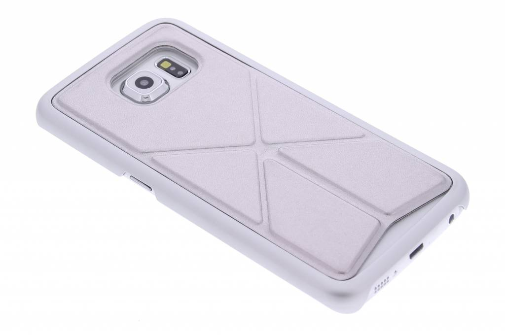 Zilver hardcase hoesje met standaard voor de Samsung Galaxy S6 Edge