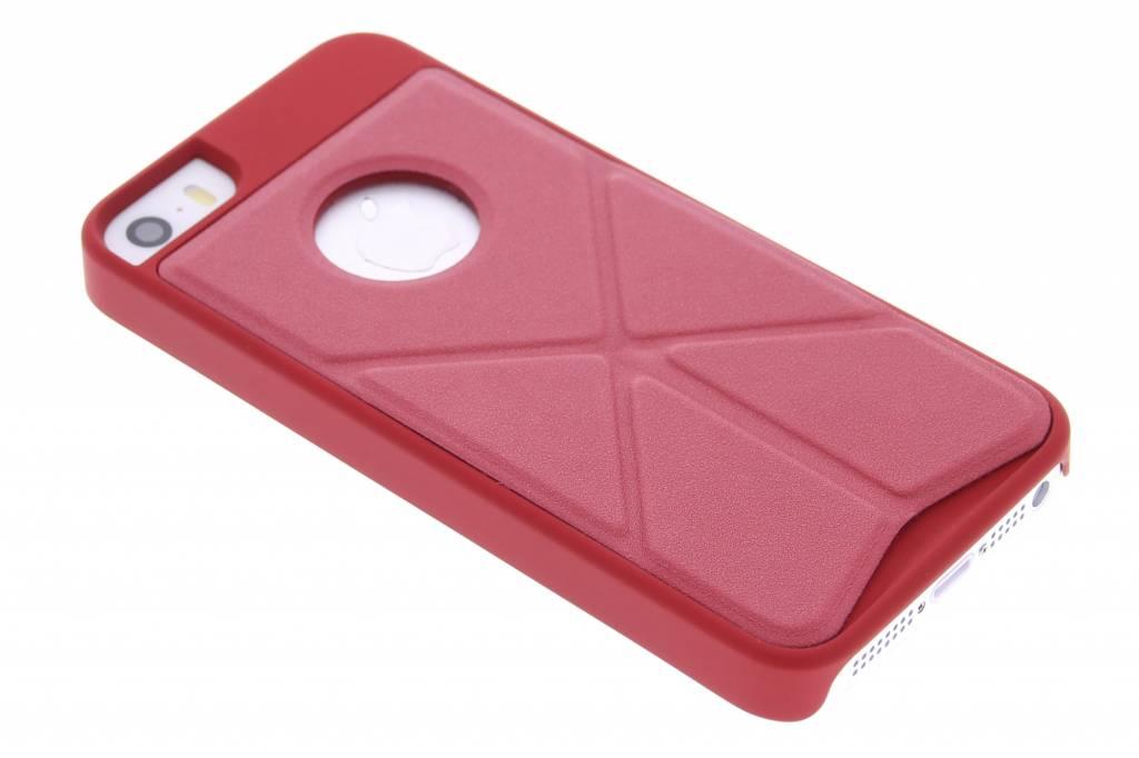 Rood hardcase hoesje met standaard voor de iPhone 5 / 5s / SE