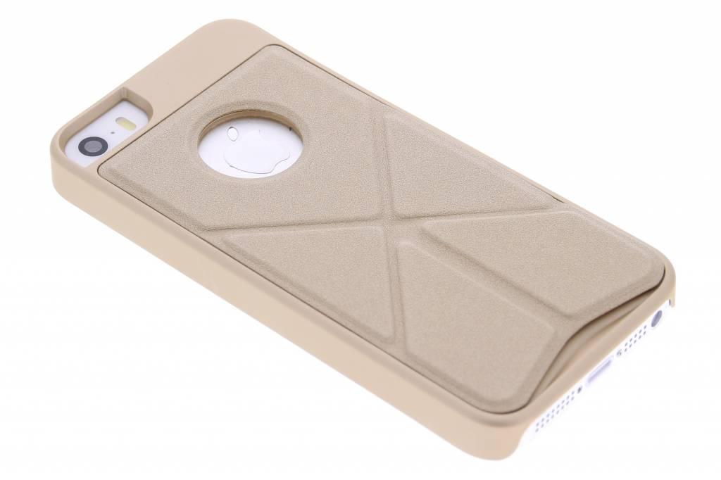 Goud hardcase hoesje met standaard voor de iPhone 5 / 5s / SE