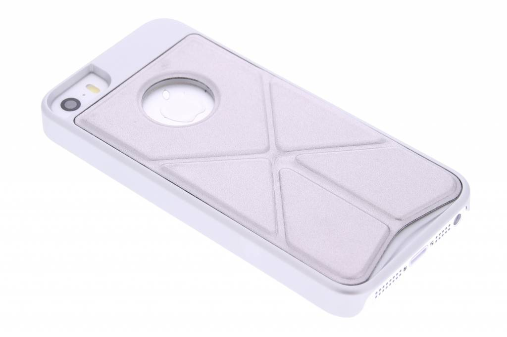 Zilver hardcase hoesje met standaard voor de iPhone 5 / 5s / SE