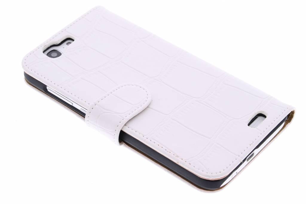 Witte krokodil booktype hoes voor de Huawei Ascend G7