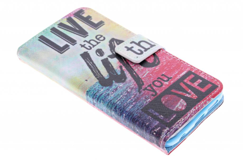 Live the life design TPU booktype hoes voor de Samsung Galaxy S6 Edge