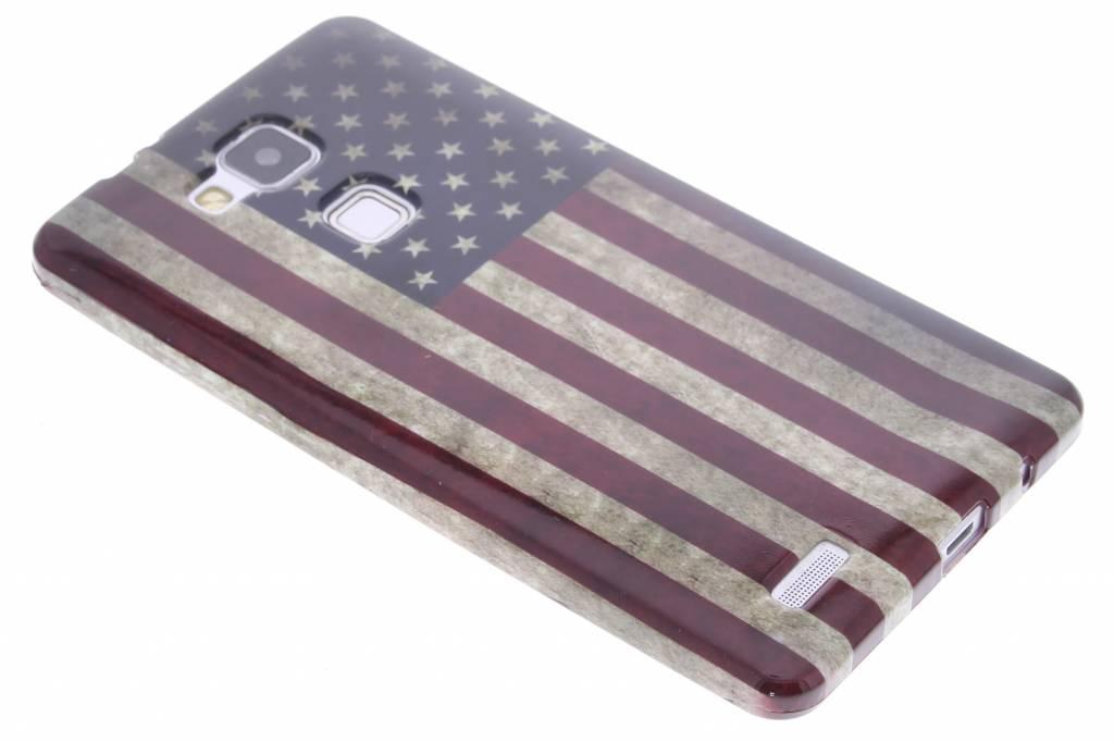 Amerikaanse vlag design TPU siliconen hoesje voor de Huawei Ascend Mate 7