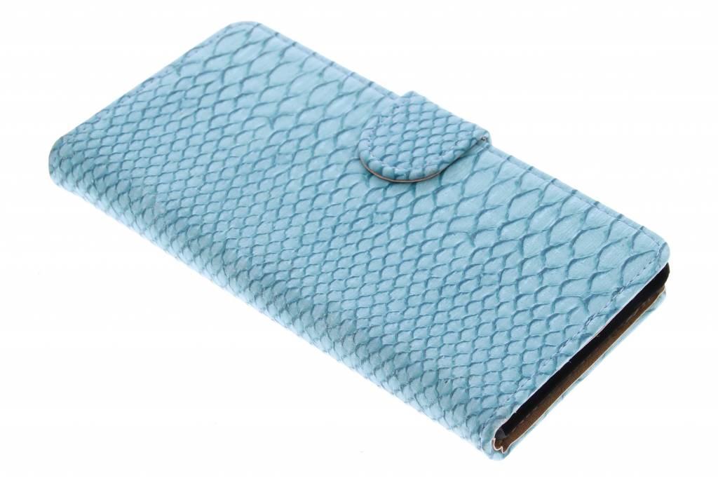 Turquoise slangen booktype hoes voor de Sony Xperia M4 Aqua