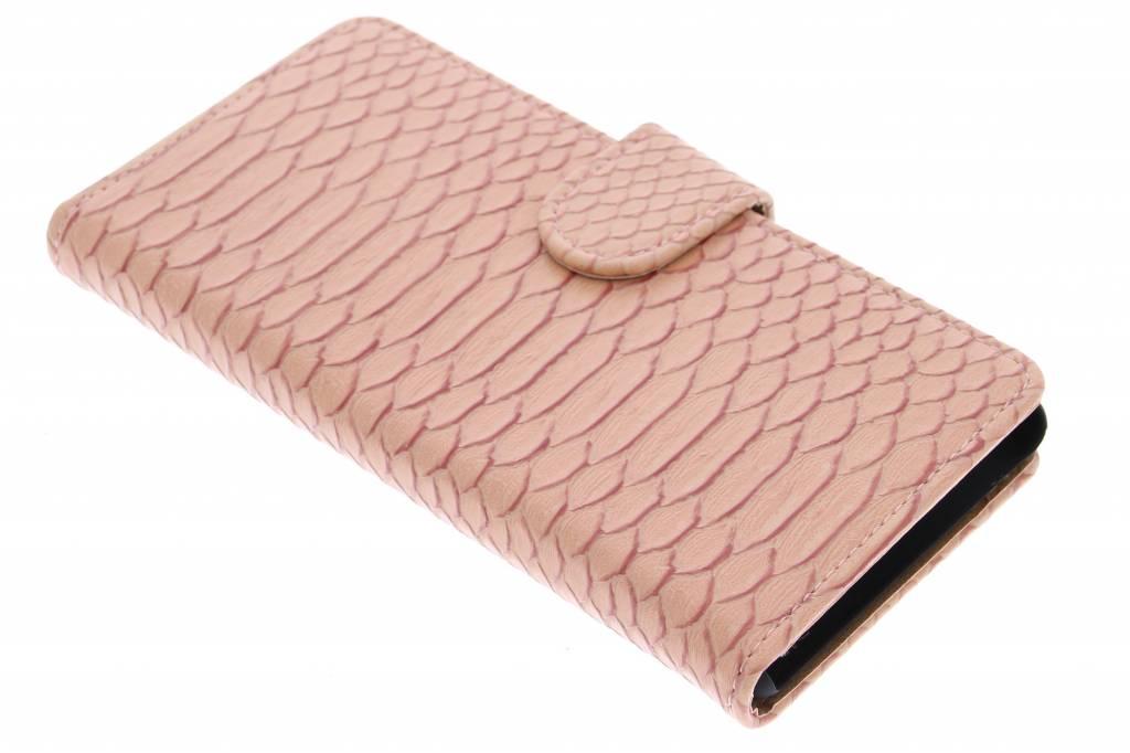 Roze slangen booktype hoes voor de Sony Xperia M4 Aqua