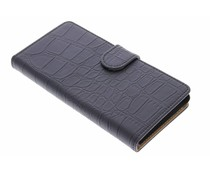 Zwart krokodil booktype hoes Sony Xperia M4 Aqua