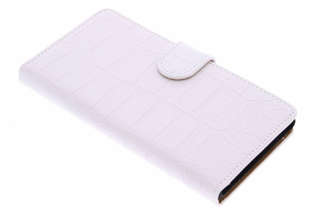 Witte krokodil booktype hoes voor de Sony Xperia M4 Aqua
