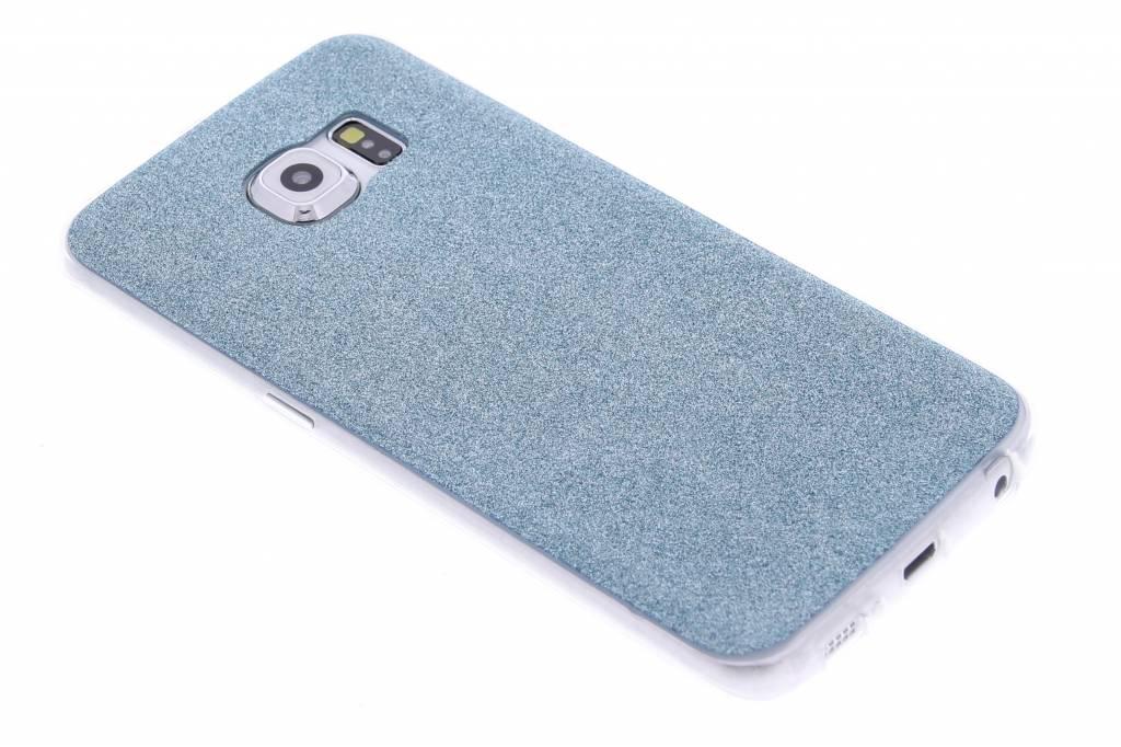 Turquoise glitter TPU siliconen hoesje voor de Samsung Galaxy S6 Edge