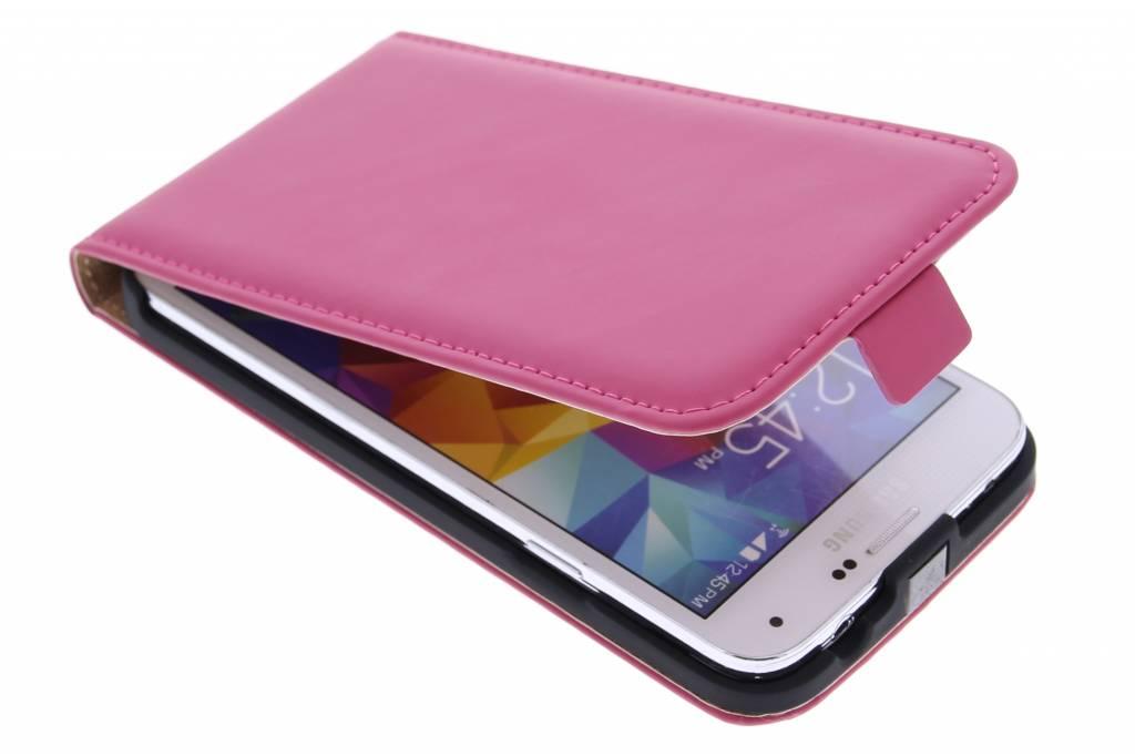 Selencia Luxe Flipcase voor de Samsung Galaxy S5 (Plus) / Neo - Fuchsia