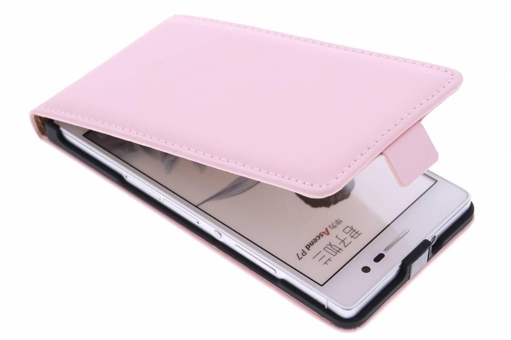 Selencia Luxe Flipcase voor de Huawei Ascend P7 - Poederroze