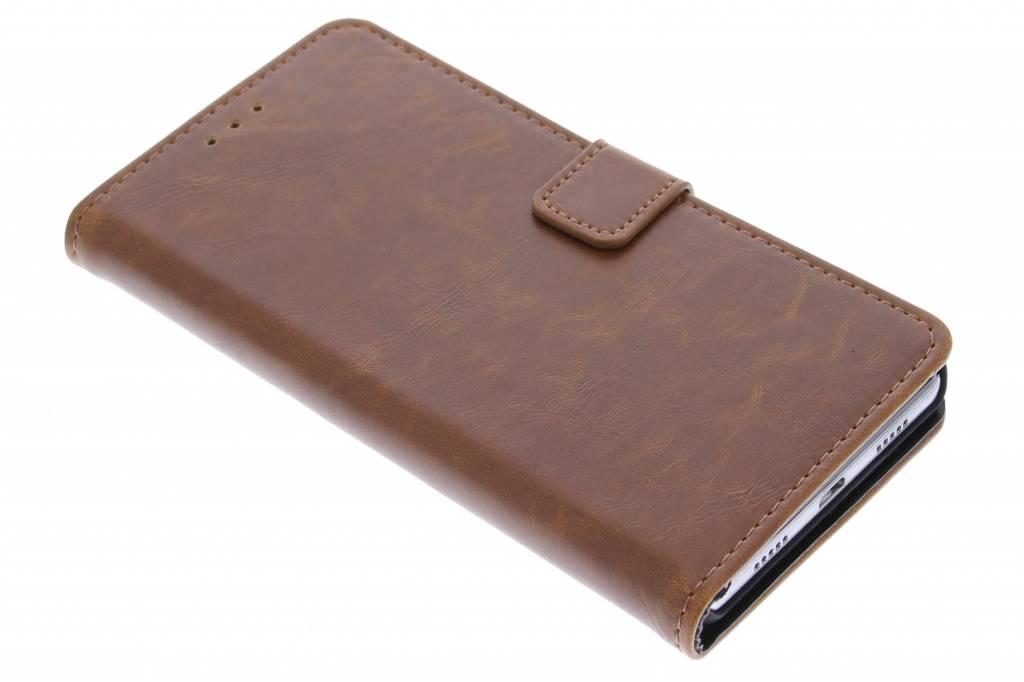 Kastanjebruine luxe leder booktype hoes voor de Huawei P8 Lite