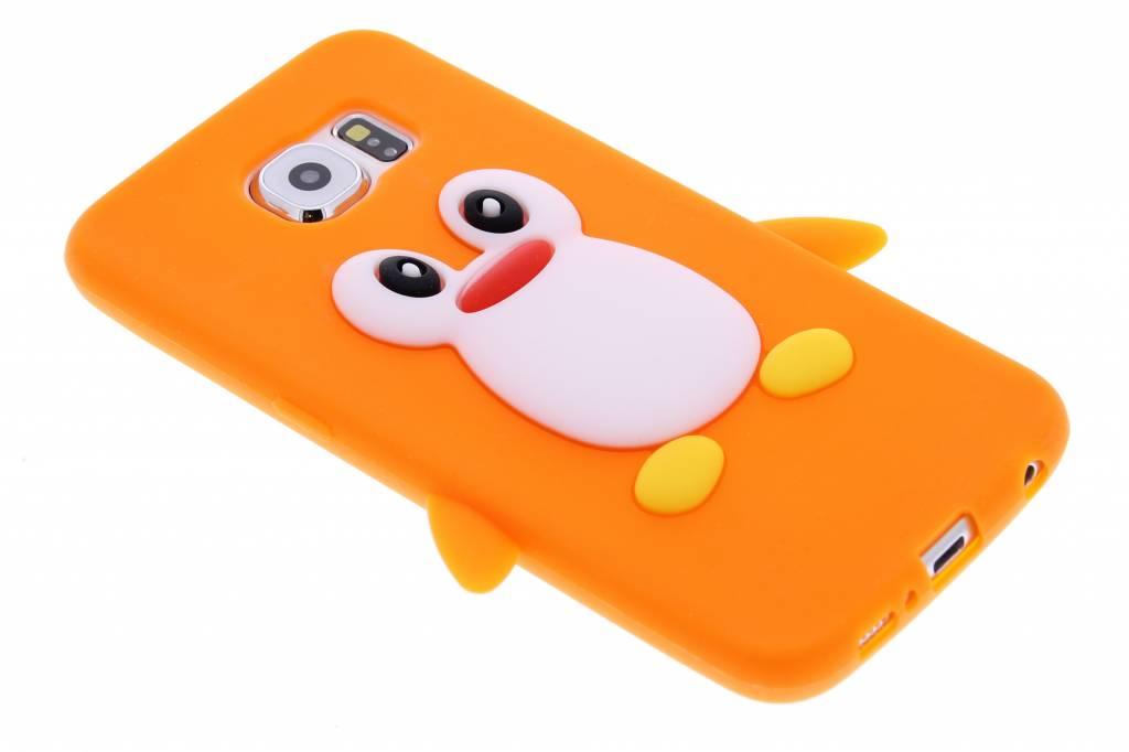Oranje pinguïn siliconen hoesje voor de Samsung Galaxy S6