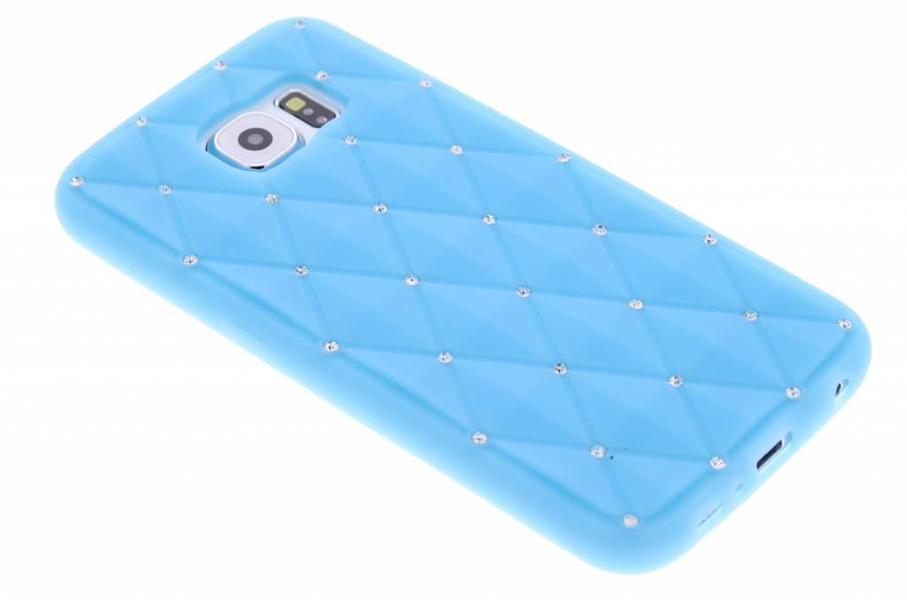 Turquoise siliconen hoesje met strass voor de Samsung Galaxy S6