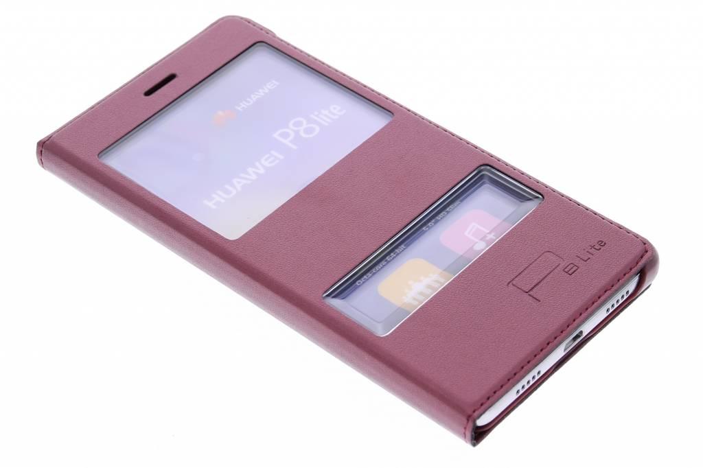 Rode slim booktype hoes met venster voor de Huawei P8 Lite