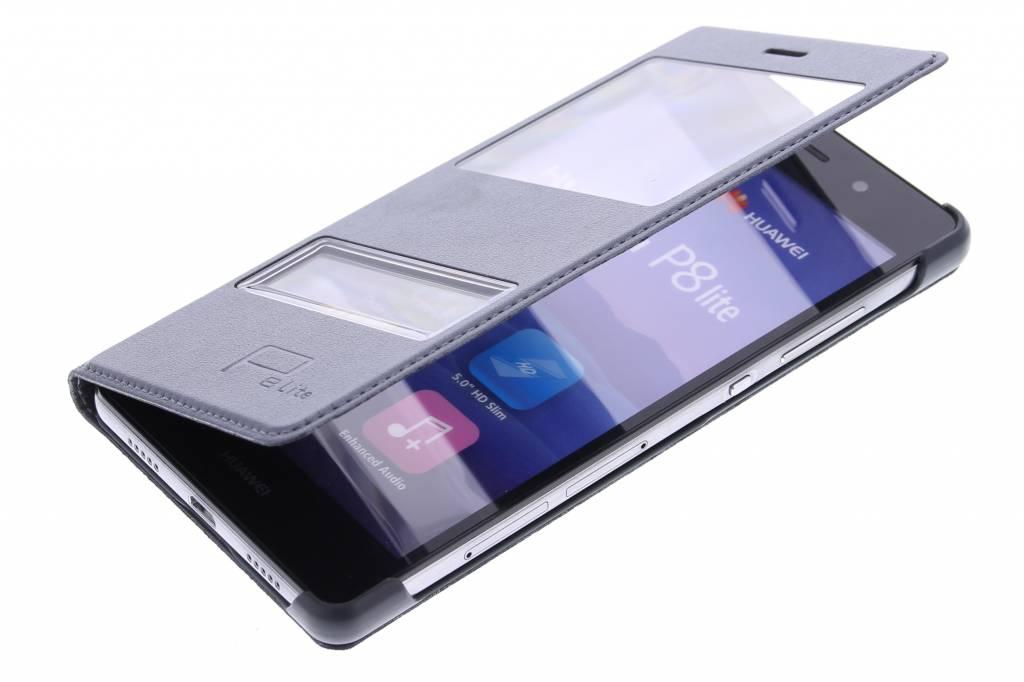 tui Mince De Type Livre Gris Avec Fenêtre Pour Huawei P8 Lite 5RG4UndsF