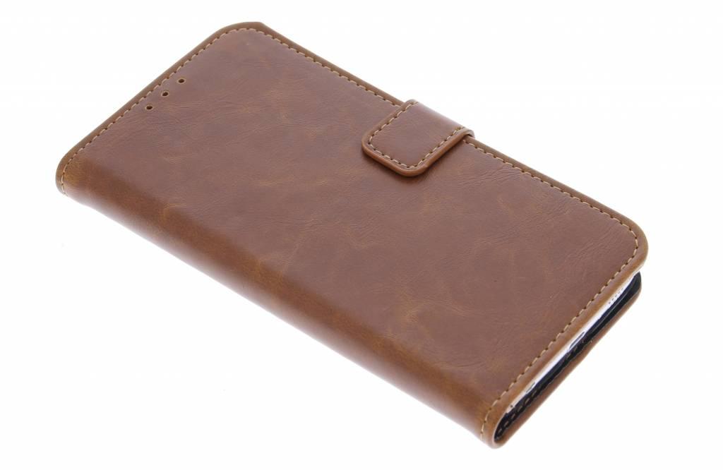 Kastanjebruine luxe leder booktype hoes voor de Samsung Galaxy S6