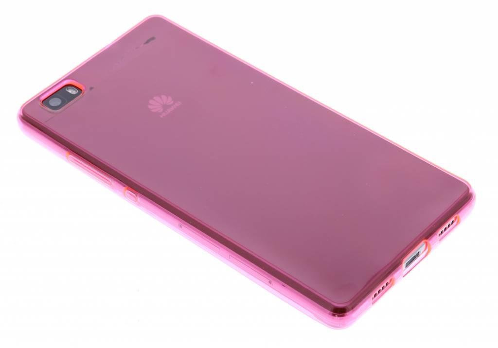 Fuchsia transparante gel case voor de Huawei P8 Lite