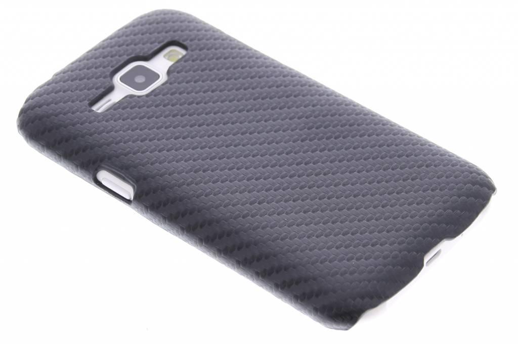 Zwart carbon look hardcase hoesje voor de Samsung Galaxy J1