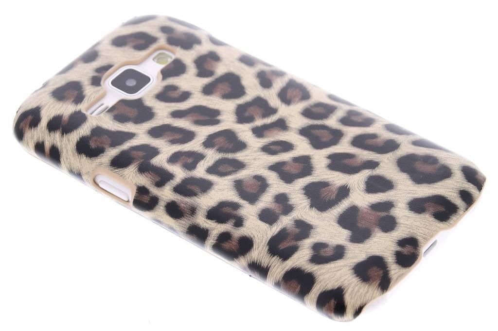 Bruin luipaard design hardcase hoesje voor de Samsung Galaxy J1