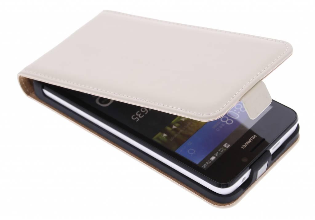 Selencia Luxe Flipcase voor de Huawei Y635 - Gebroken wit