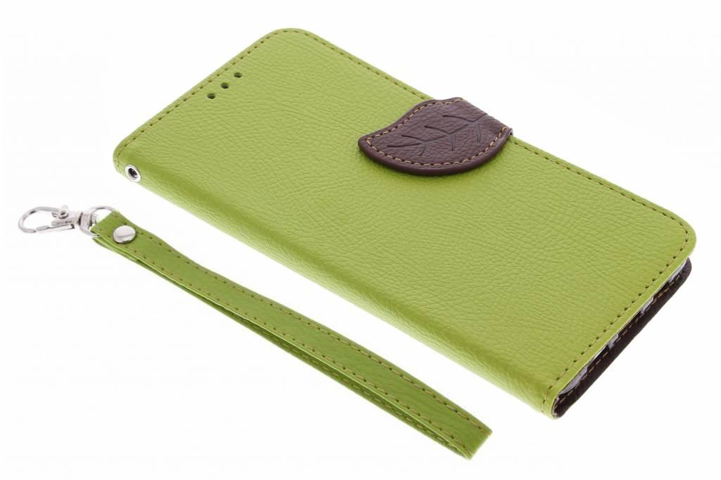 Groene blad design TPU booktype hoes voor de Samsung Galaxy S6 Edge Plus