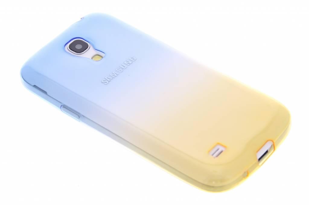 Blauw/geel tweekleurig transparant TPU siliconen hoesje voor de Samsung Galaxy S4 Mini