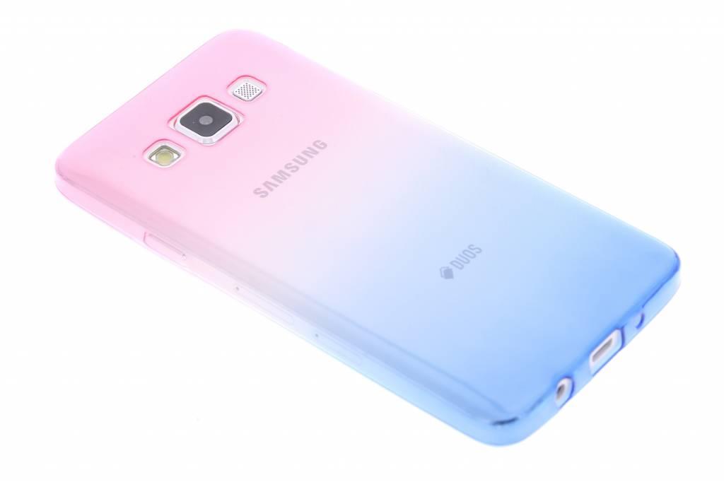 Roze/blauw tweekleurig transparant TPU siliconen hoesje voor de Samsung Galaxy A3
