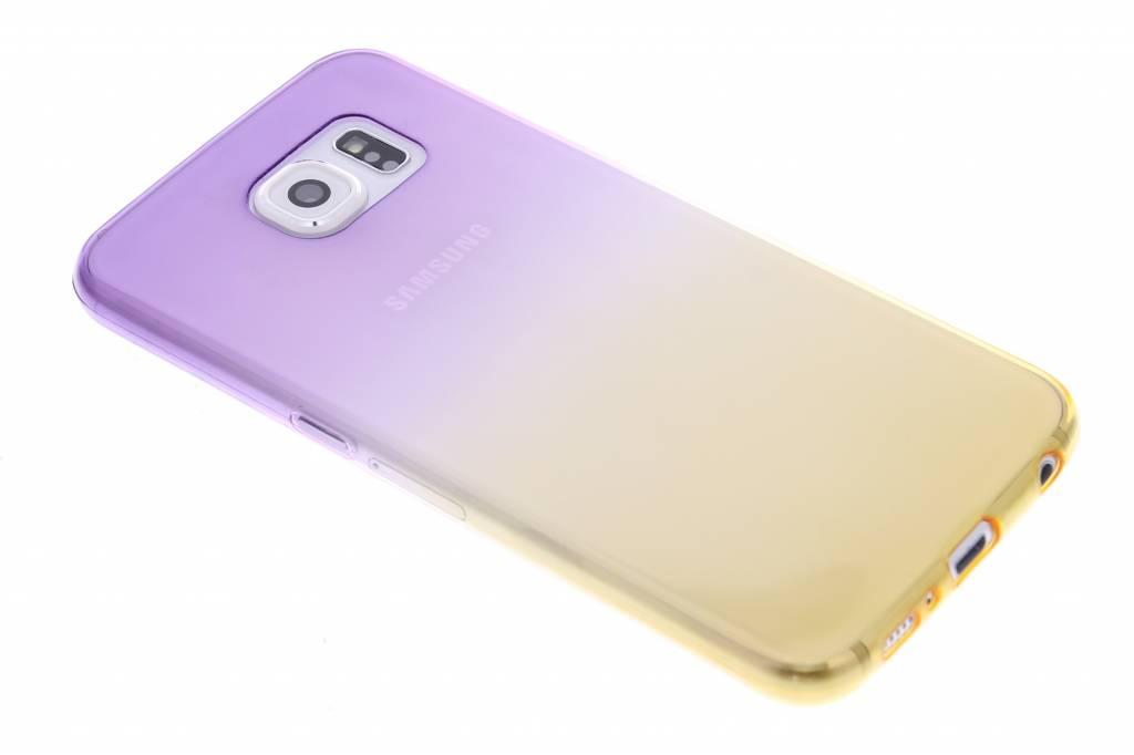 Paars/geel tweekleurig transparant TPU siliconen hoesje voor de Samsung Galaxy S6