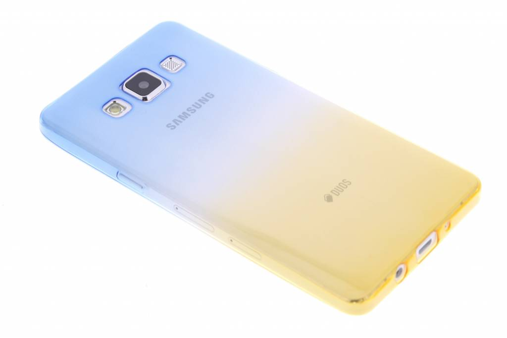 Blauw/geel tweekleurig transparant TPU siliconen hoesje voor de Samsung Galaxy A5
